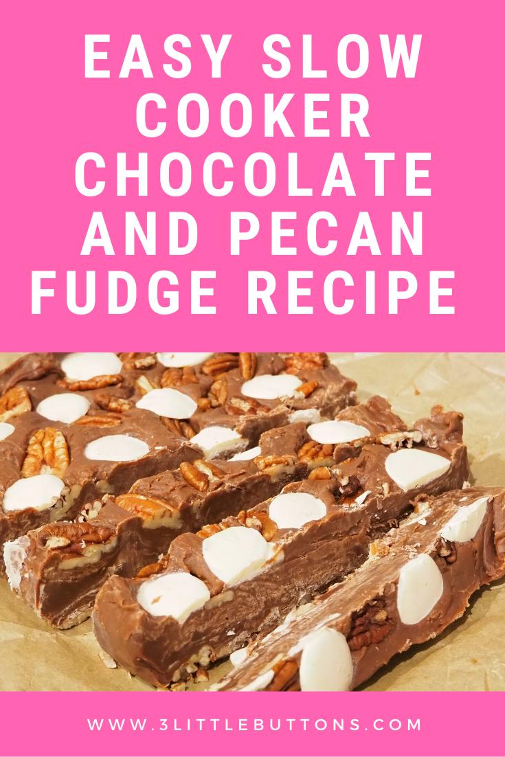 Easy slow cooker chocolate and pecan fudge recipe